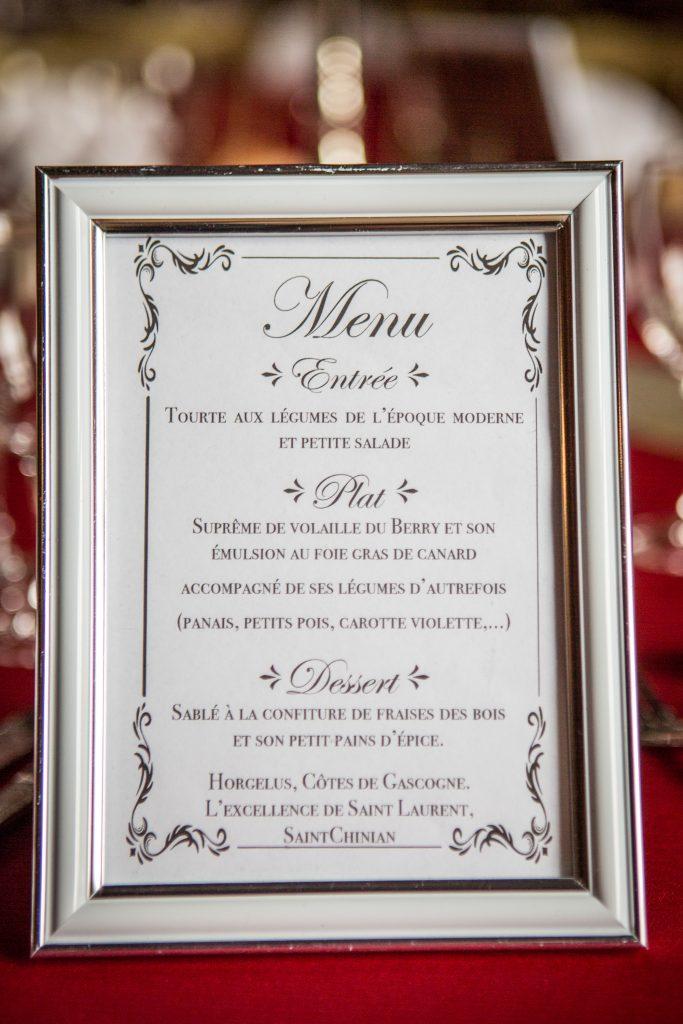 Présentation Menu dîner pour les 500 de la Renaissance