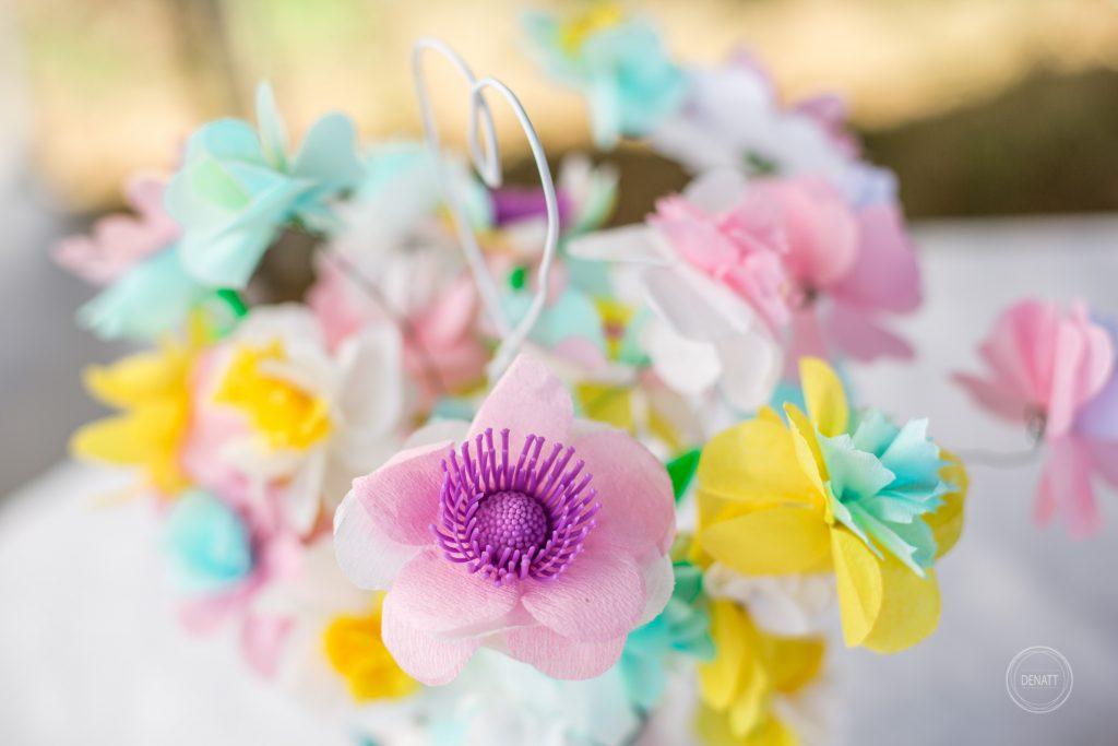 Bouquet fleurs crépons baptême