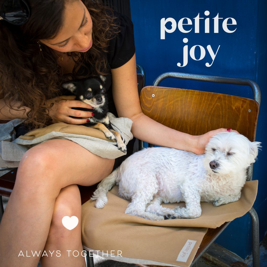 la créatrice et ses chiens en terrasse à Paris, agence Denatt